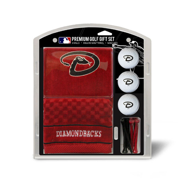 Arizona Diamondbacks Embroidered Golf Towel Ball and Tee Gift Set