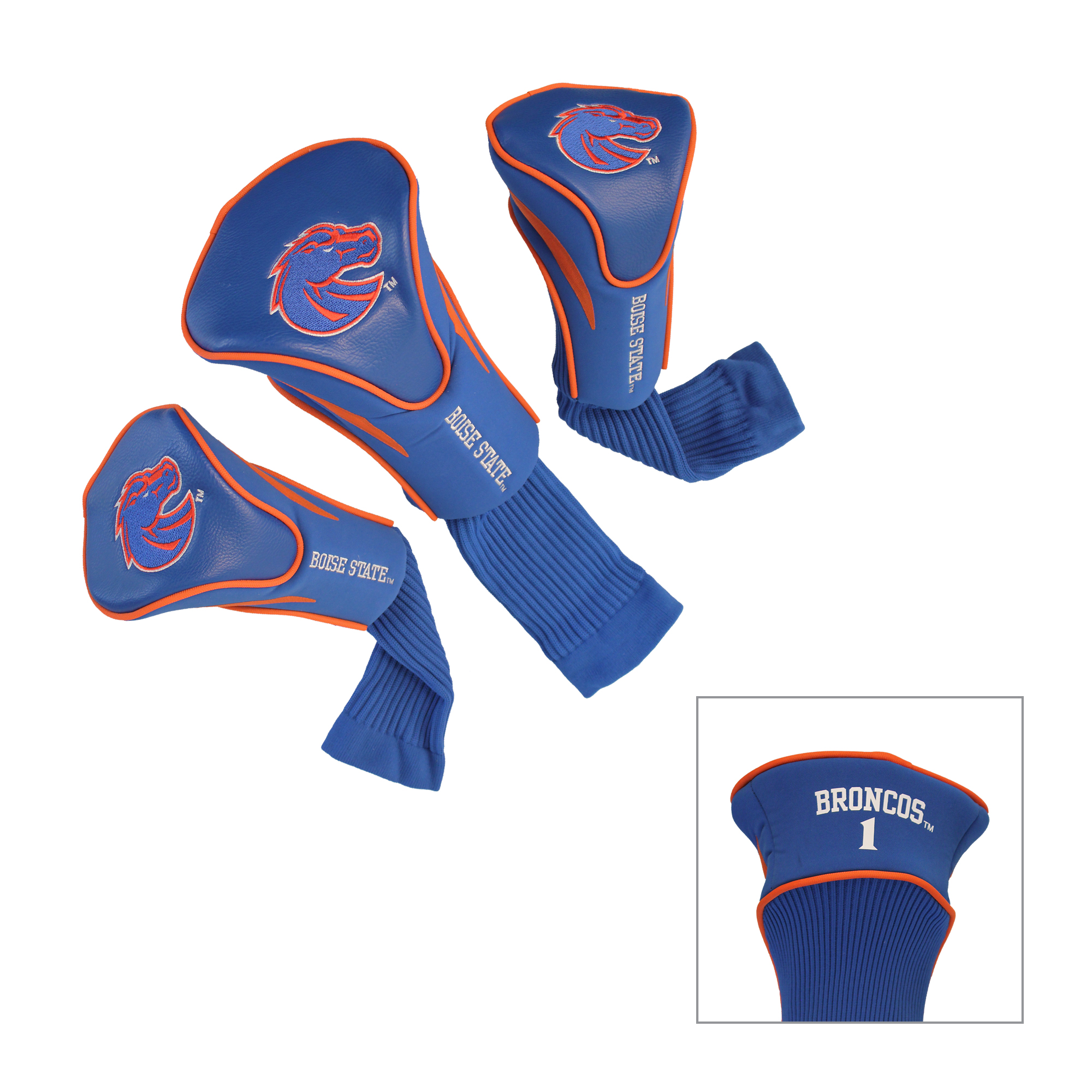 Boise State Broncos 3 Pk Contour Golf Head Covers