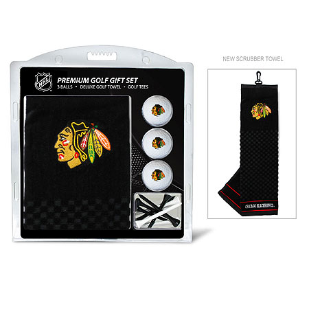 Chicago Blackhawks Embroidered Golf Towel, Golf Ball and Tee Gift Set