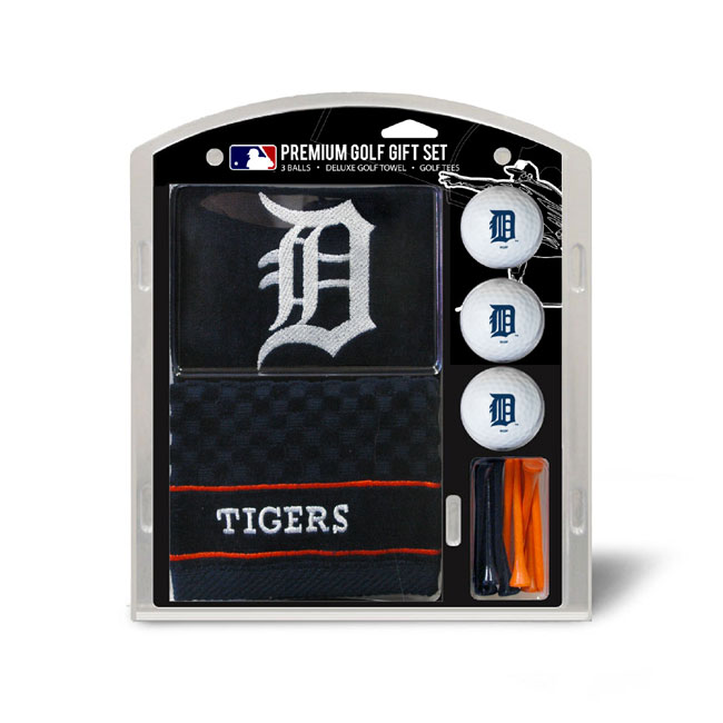 Detroit Tigers Embroidered Golf Towel Ball and Tee Gift Set