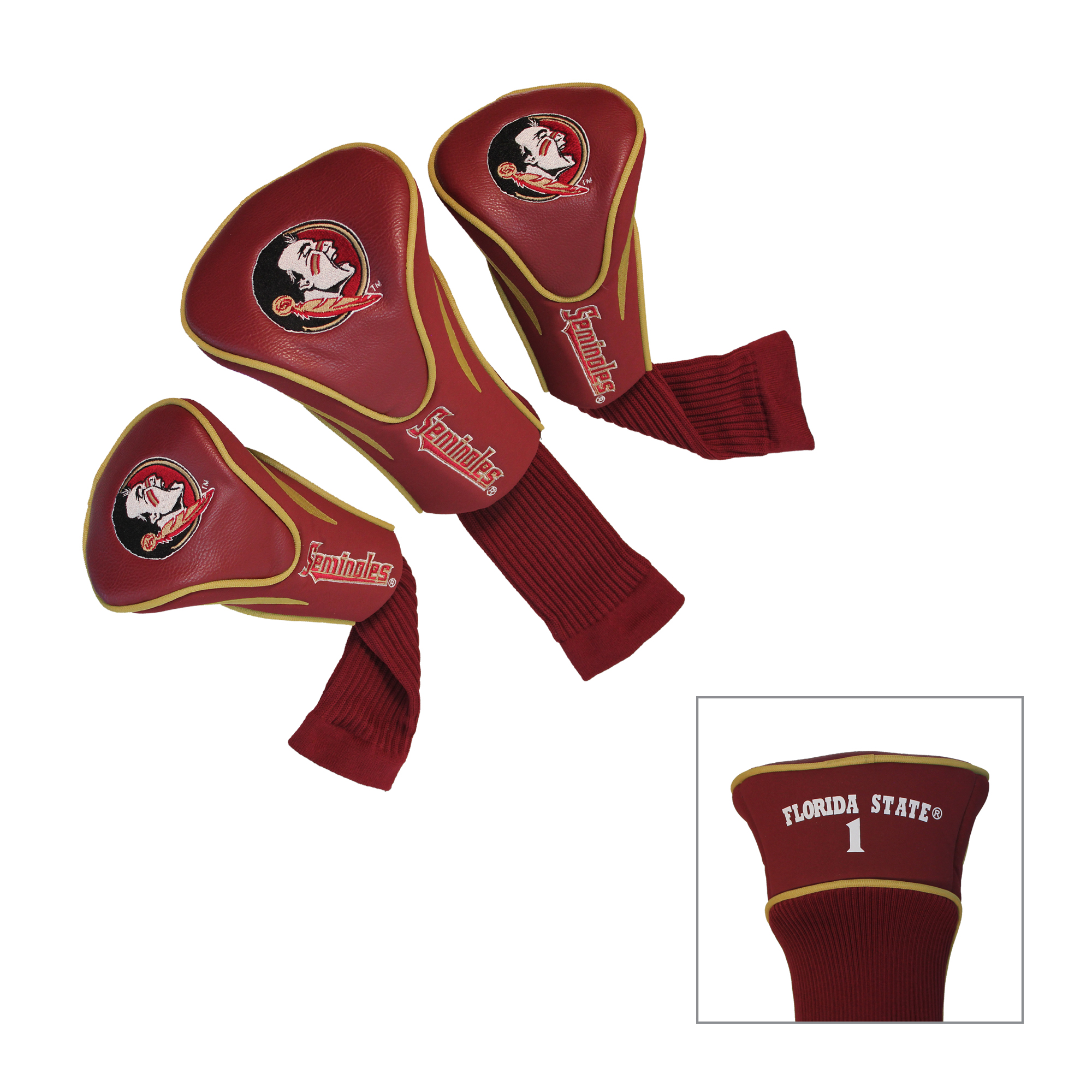 Florida State Seminoles 3 Pk Golf Contour Sock Head Covers