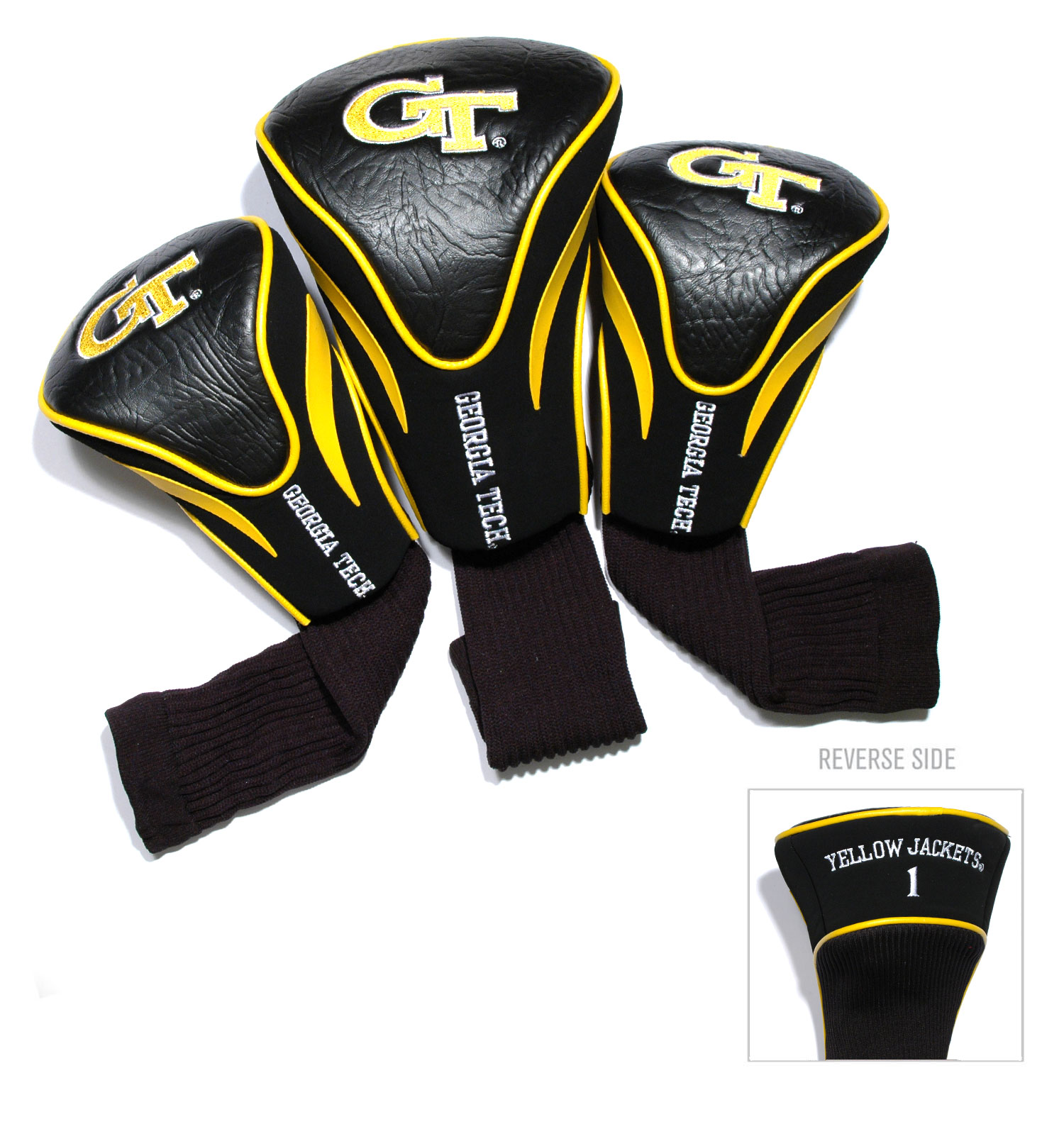 Georgia Tech Yellow Jackets 3 Pk Golf Contour Sock Head Covers