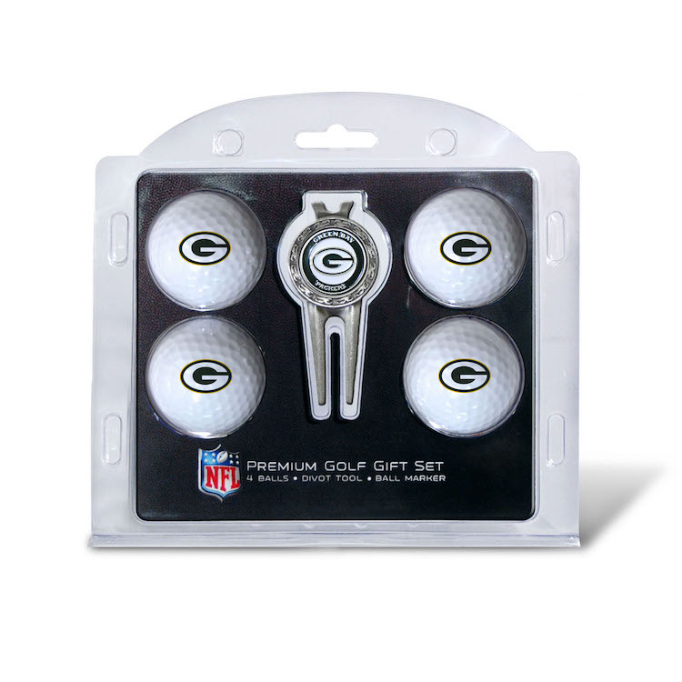 Green Bay Packers 4 Golf Ball and Divot Tool Gift Set