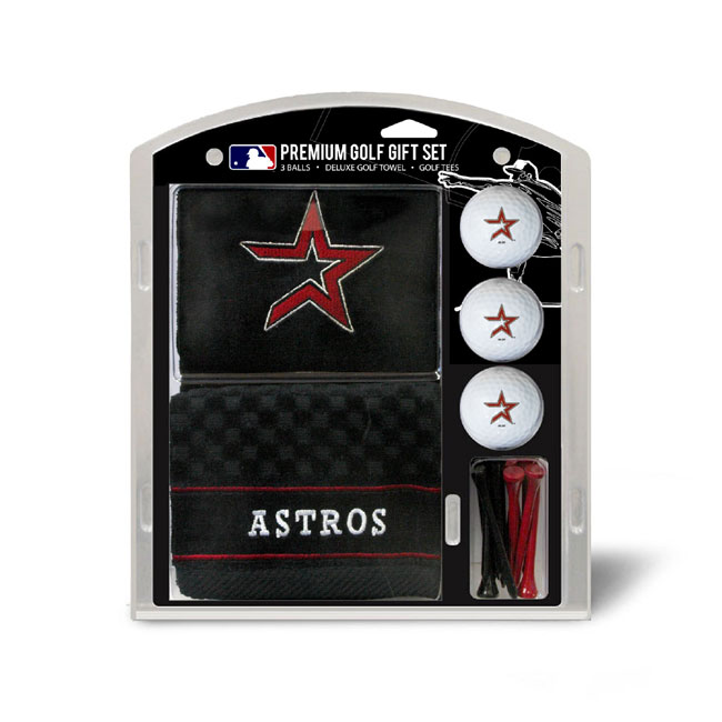 Houston Astros Embroidered Golf Towel Ball and Tee Gift Set