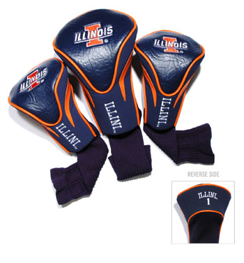 Illinois Fighting Illini 3 Pk Golf Contour Sock Head Covers