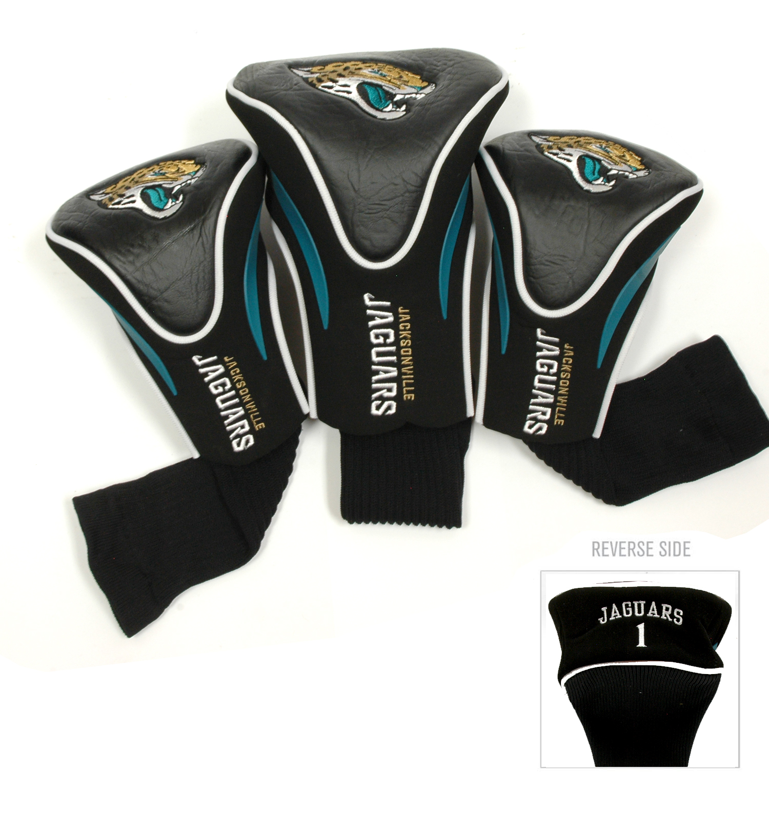 Jacksonville Jaguars 3 Pack Golf Contour Sock Head Covers