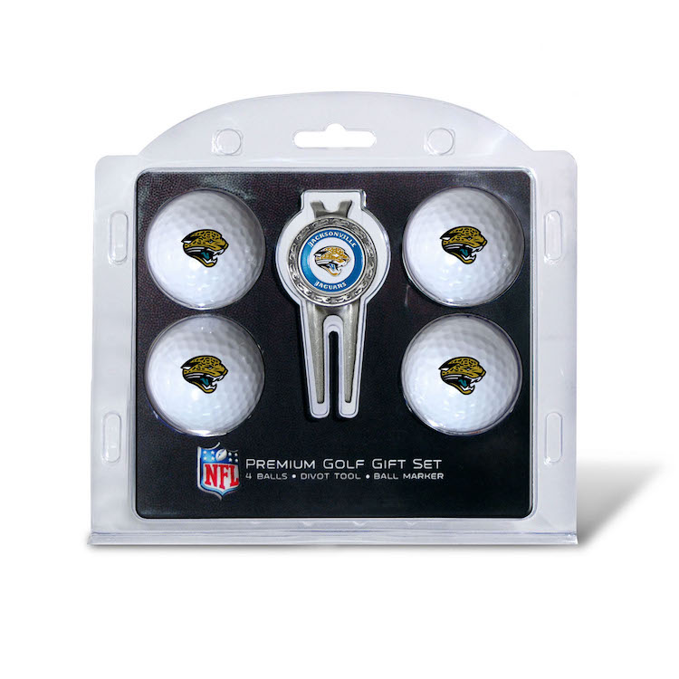 Jacksonville Jaguars 4 Golf Ball and Divot Tool Gift Set
