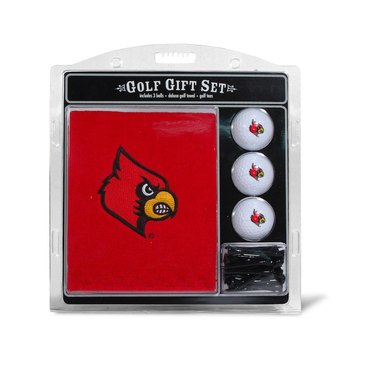 Louisville Cardinals Embroidered Towel, Ball and Tee Gift Set