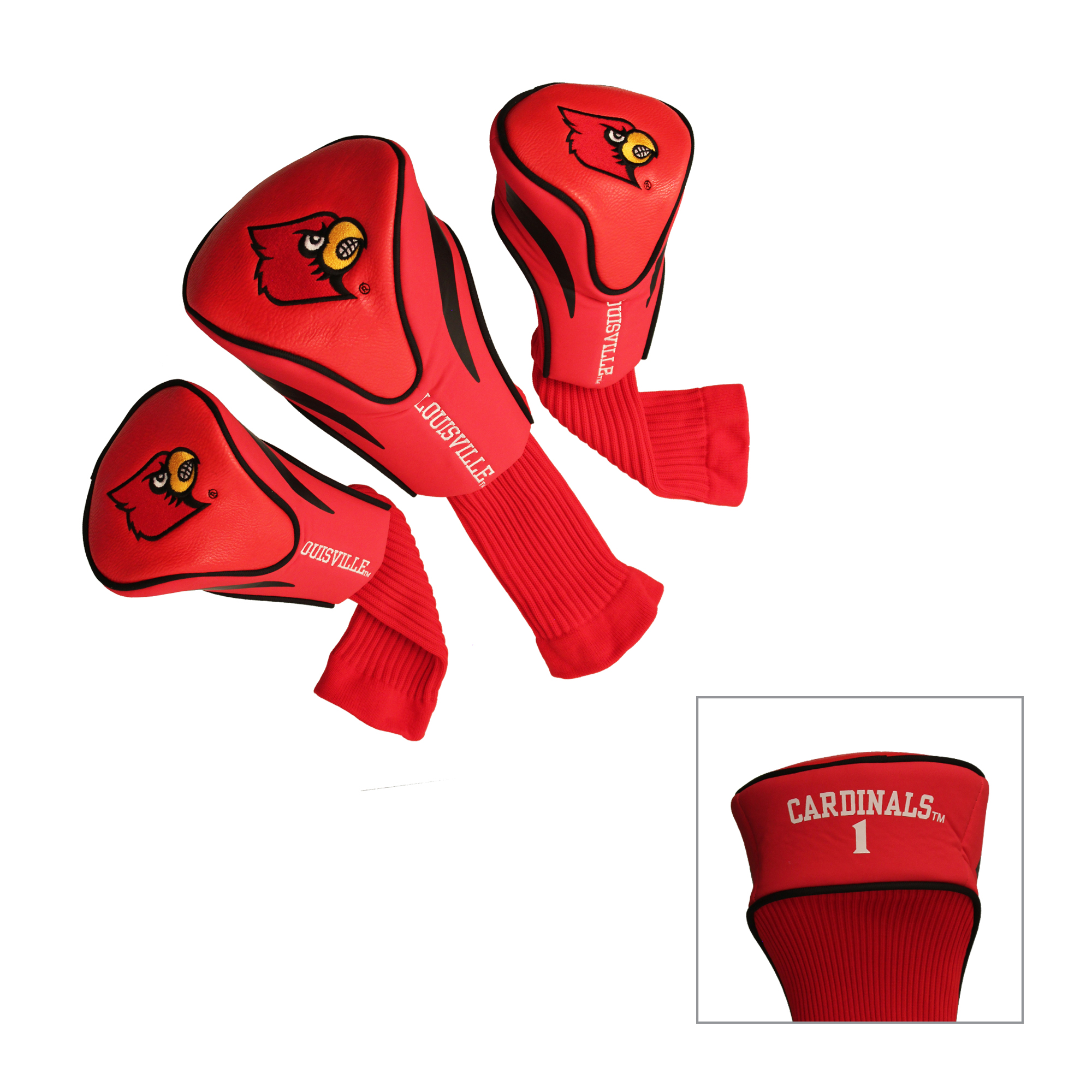 Louisville Cardinals 3 Pk Golf Contour Sock Head Covers
