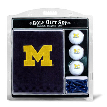 Michigan Wolverines Embroidered Towel, Ball and Tee Gift Set