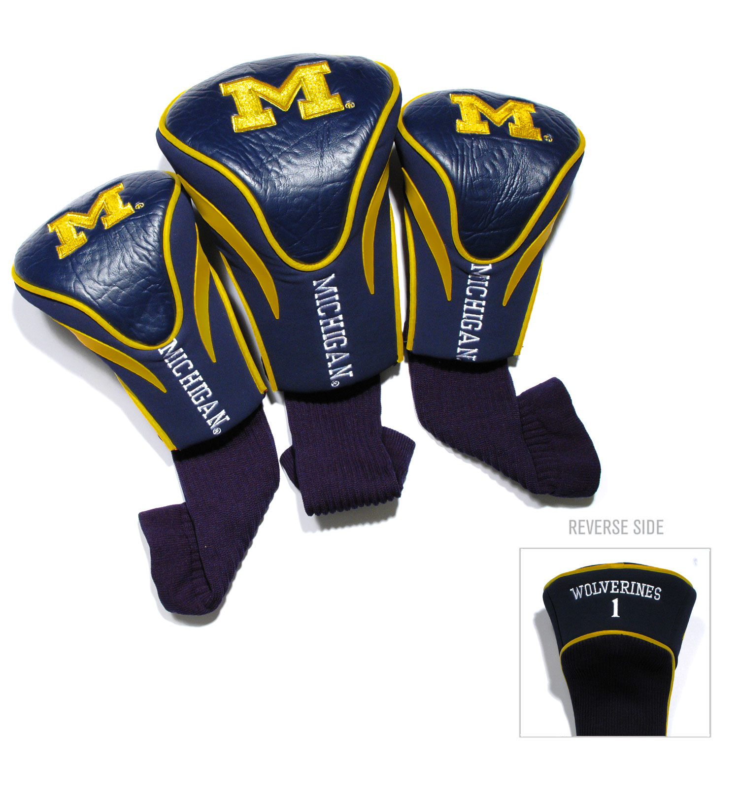 Michigan Wolverines 3 Pk Golf Contour Sock Head Covers