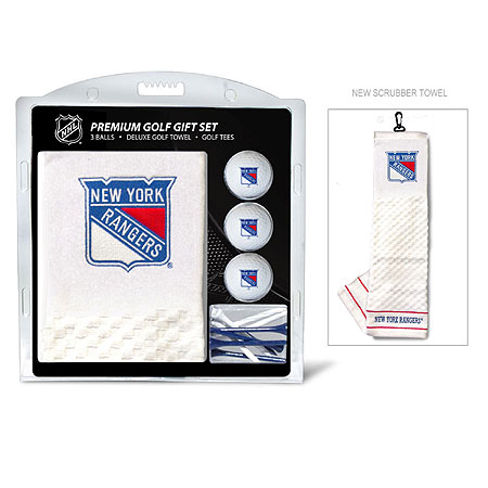 New York Rangers Embroidered Golf Towel, Golf Ball and Tee Gift Set
