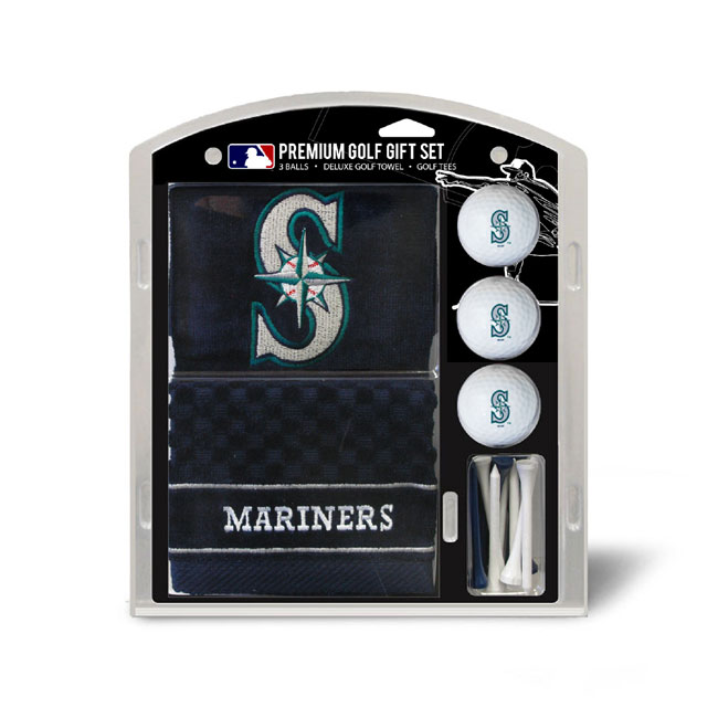 Seattle Mariners Embroidered Golf Towel Ball and Tee Gift Set