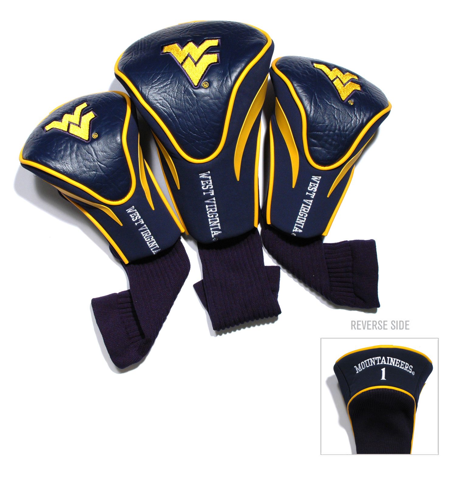West Virginia Mountaineers 3 Pk Golf Contour Sock Head Covers