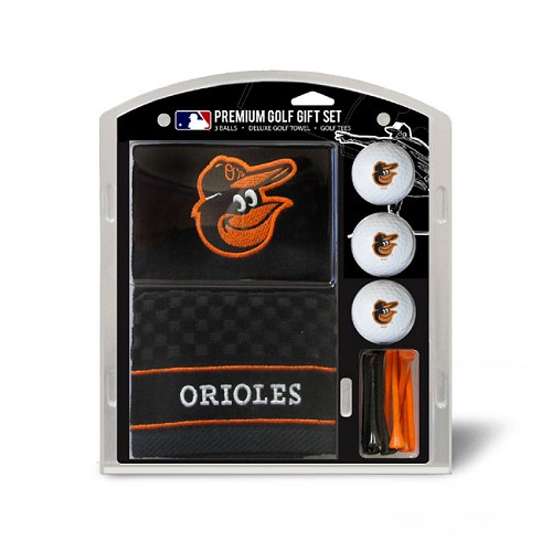 Baltimore Orioles Embroidered Golf Towel Ball and Tee Gift Set