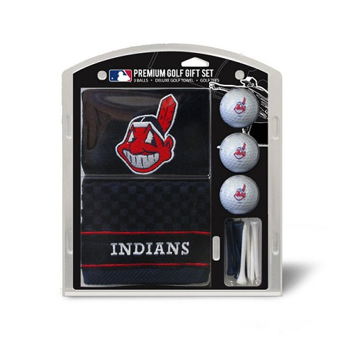 Cleveland Indians Embroidered Golf Towel Ball and Tee Gift Set