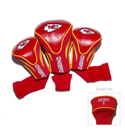 Kansas City Chiefs 3 Pack Golf Contour Sock Head Covers